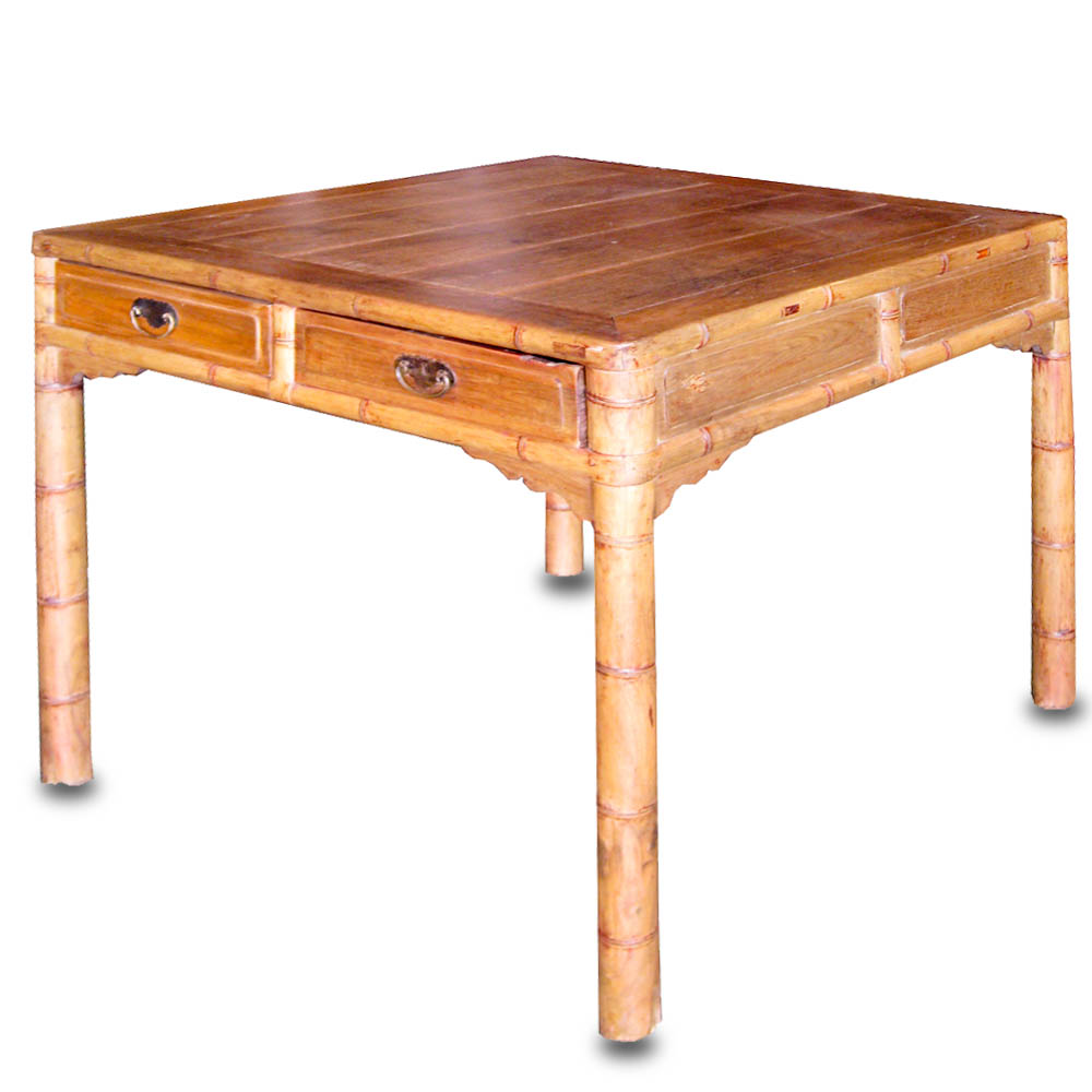 Antique square side table -  10524 Rare Antique Square Table With Carved Bamboo Motif