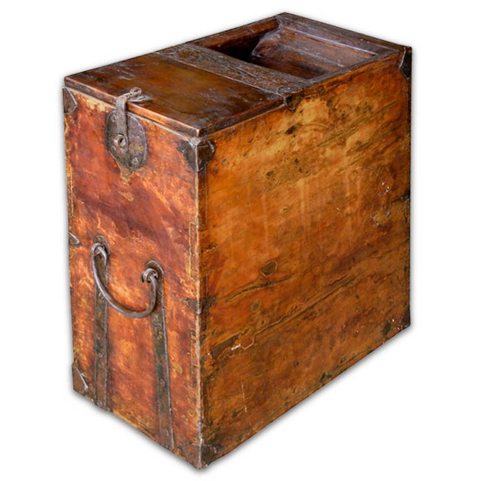 #13256 Rare Narrow And Taller Antique Storage Chest With Old Iron Fitting