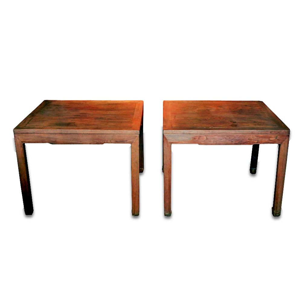 #CHF 07 A Rare Pair Of Large Size Ju Wood Square Half Tables