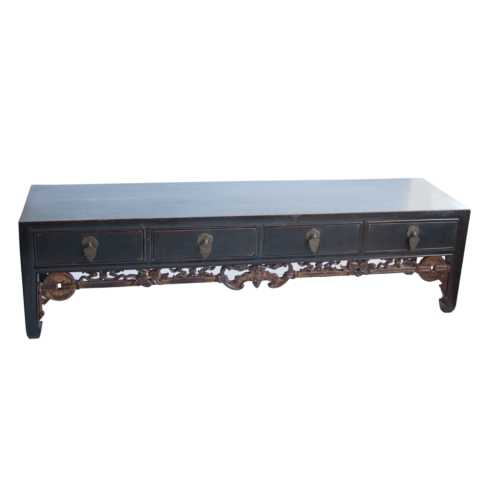 Japanese tea table dimensions -  14929 Antique Black Lacquer Kang Table With Drawers And Rare Carved Bat And Coin Design In Gilt