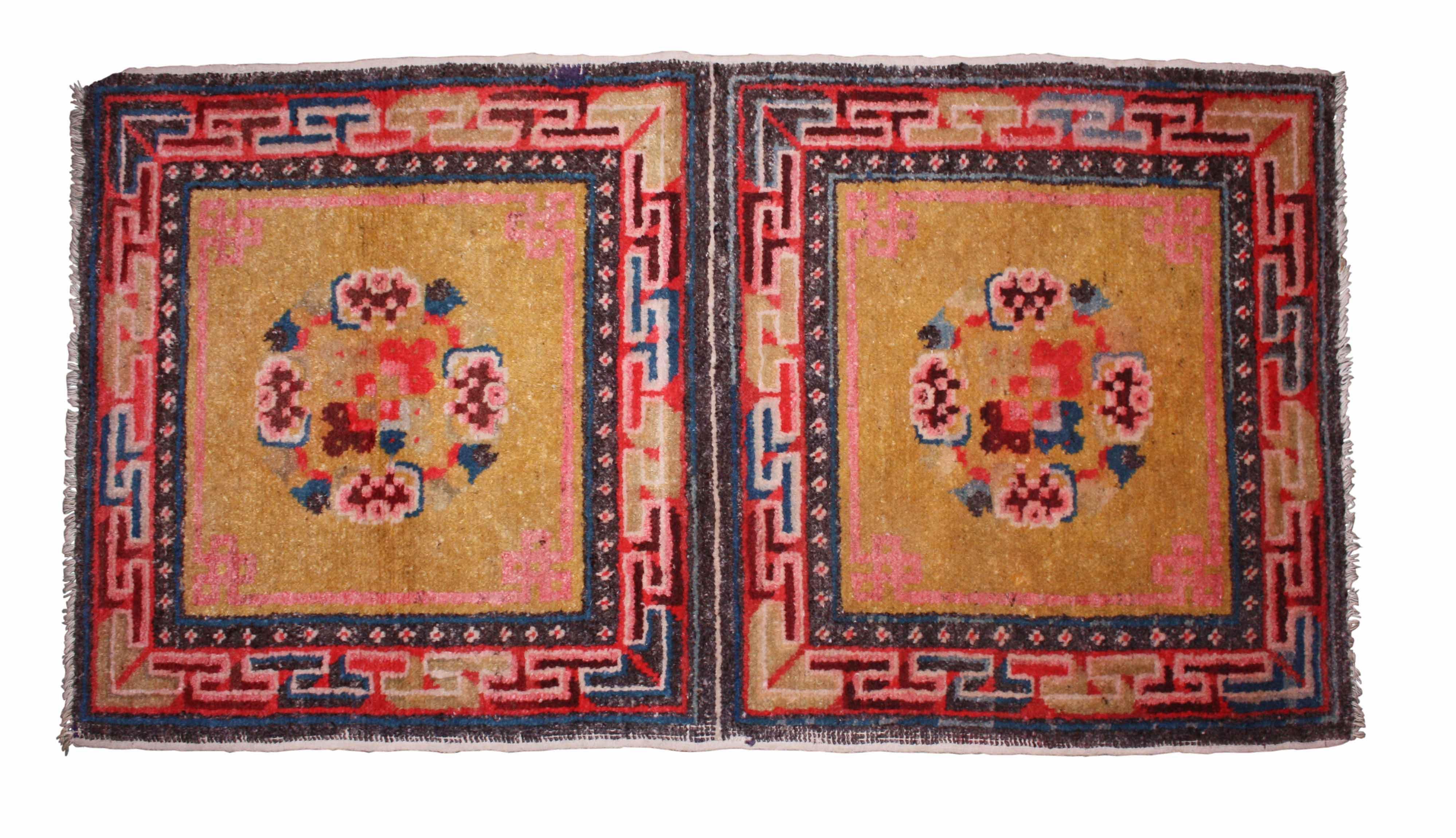 #14739 Antique Tibetan Handwoven Wool Rug